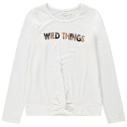 T-shirt manches longues en jersey avec inscription