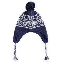 Bonnet péruvien en tricot jacquard