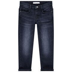 Junior - Jeans met used en crinkle-effect en zakken