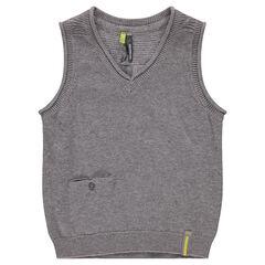 Pull sans manches en tricot avec poche