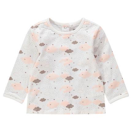 T-shirt manches longues en jersey à nuages imprimés all-over
