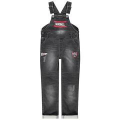 Tuinbroek van jeans met used en crinkle-effect met prints en badges