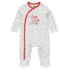 Pyjama van badstof met boodschap met print en geborduurde ©Smiley