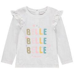 T-shirt manches longues en coton bio à volants et message pailleté