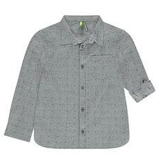 Chemise à manches rétractables avec motif en jacquard effet neps