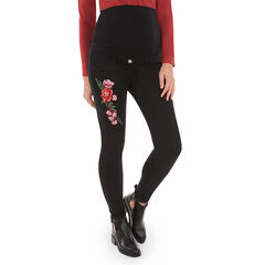 Jeans de grossesse slim avec broderies florales