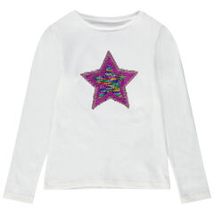T-shirt met lange mouwen van jerseystof met motief van lovertjes