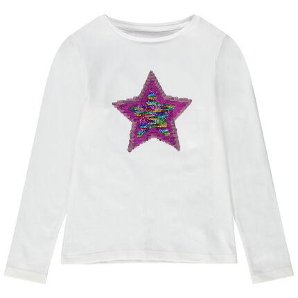 T-shirt manches longues en jersey avec motif en sequins
