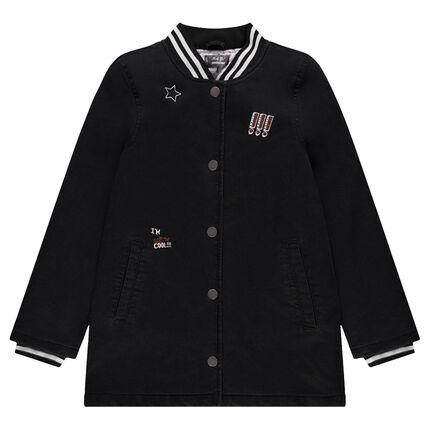 Junior - Manteau long ouatiné en jeans coton avec badges fantaisie
