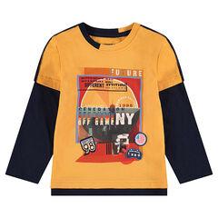 Tweekleurig T-shirt met lange mouwen, 2-in-1 effect en print met motief