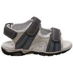 Sandalen met klittenbandsluiting en met contrasterende inzetstukken