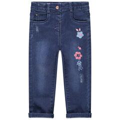 Jeans met used-effect en geborduurde bloemen