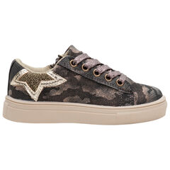 Sneakers met iriserend camouflage-effect en met veters en rits van maat 24 tot 27