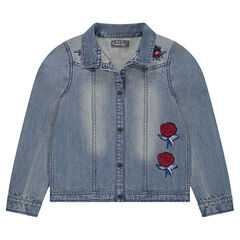 Junior - Vest met jeans en used effect en geborduurde rozen