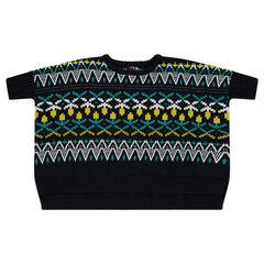 Ponchotrui van tricot met jacquardmotief