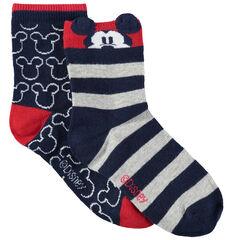 Lot de 2 paires de chaussettes à motif/rayées en jacquard Mickey Disney