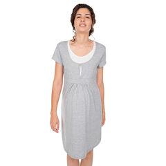 Zwangerschaps- en borstvoedingsnachthemd met korte mouwen