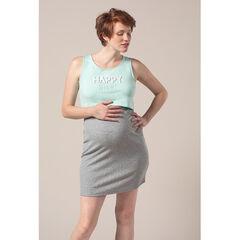 Chemise de nuit de grossesse et d'allaitement effet 2 en 1 avec message printé