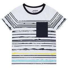Tee-shirt manches courtes en jersey avec rayures effet vague et poche