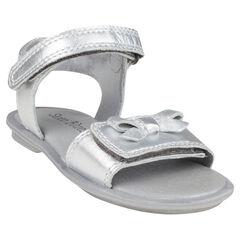 Open schoenen in leder zilverkleur met strikken