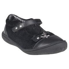 Baby's in leder in zwarte kleur met pailletten