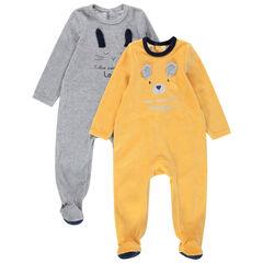 Set met2 pyjama's van velours met dierenprints en reliëforen