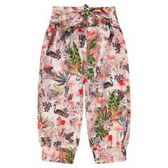 Pantalon fluide court avec imprimé floral all-over
