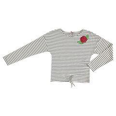 Junior - Gestreept T-shirt met lange mouwen en geborduurde roos