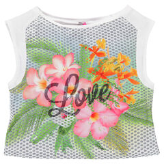 Top effet satiné print tropical