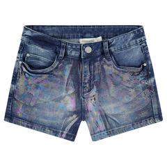 Junior - Jeansshort met opdruk met regenboogeffect