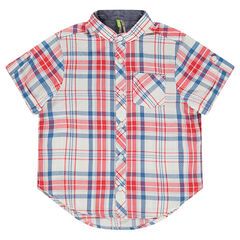 Chemise manches courtes à carreaux avec col mao