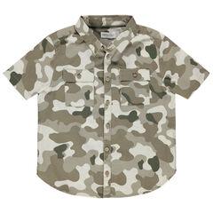 Chemise manches courtes imprimée camouflage à poches
