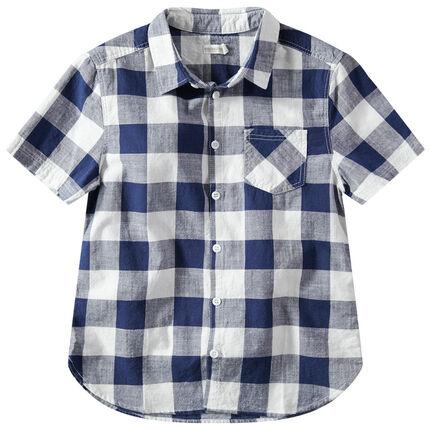 Junior - Hemd met korte mouwen en contrasterende ruitjes