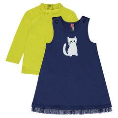 Ensemble van jurk van molton met kattenprint en sous-pull