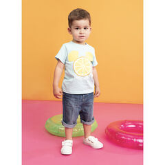 T-shirt manches courtes en coton bio print Mickey en citrons Disney