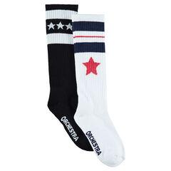 Lot de 2 paires de chaussettes hautes assorties avec étoiles en jacquard