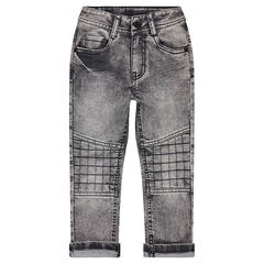 Jeans met used-effect, sierstiksels en cut-outs