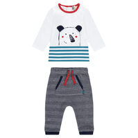 Ensemble tee-shirt print ourson et pantalon à chevrons