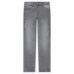 Junior - Slim fit jeans met decoratieve scheuren