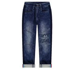 Jeans met used-effect, cut-outs en geprinte opschriften