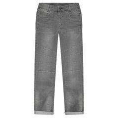 Junior - Grijze jeans met used en crinkle effect en inzetstukken
