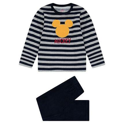 Pyjama van gestreept fluweel ©Disney met patch Mickey
