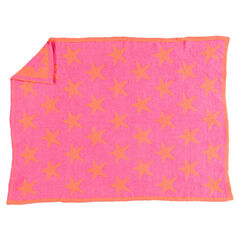 Couverture en chenille bicolore imprimée étoiles façon jacquard