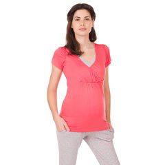 Tee-shirt manches courtes homewear de grossesse et d'allaitement