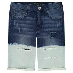 Junior - Bermuda en jeans effet tie and dye avec déchirures