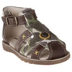 Nu-pieds motif army bi-matière
