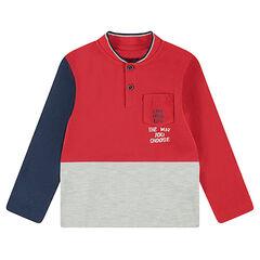 Polo manches longues en jersey tricolore avec poche plaquée