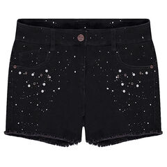 Junior - Short van denim met used effect en fantasie