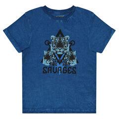 Junior -  Junior - Geverfd T-shirt met korte mouwen en print met tijger