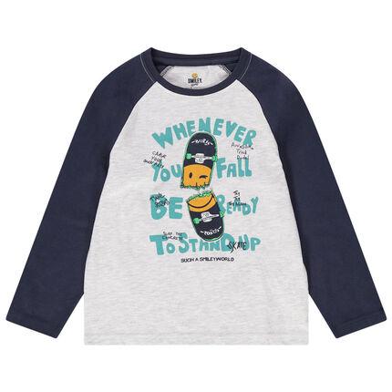 Tweekleurig T-shirt met lange mouwen van jerseystof met skateboardprint